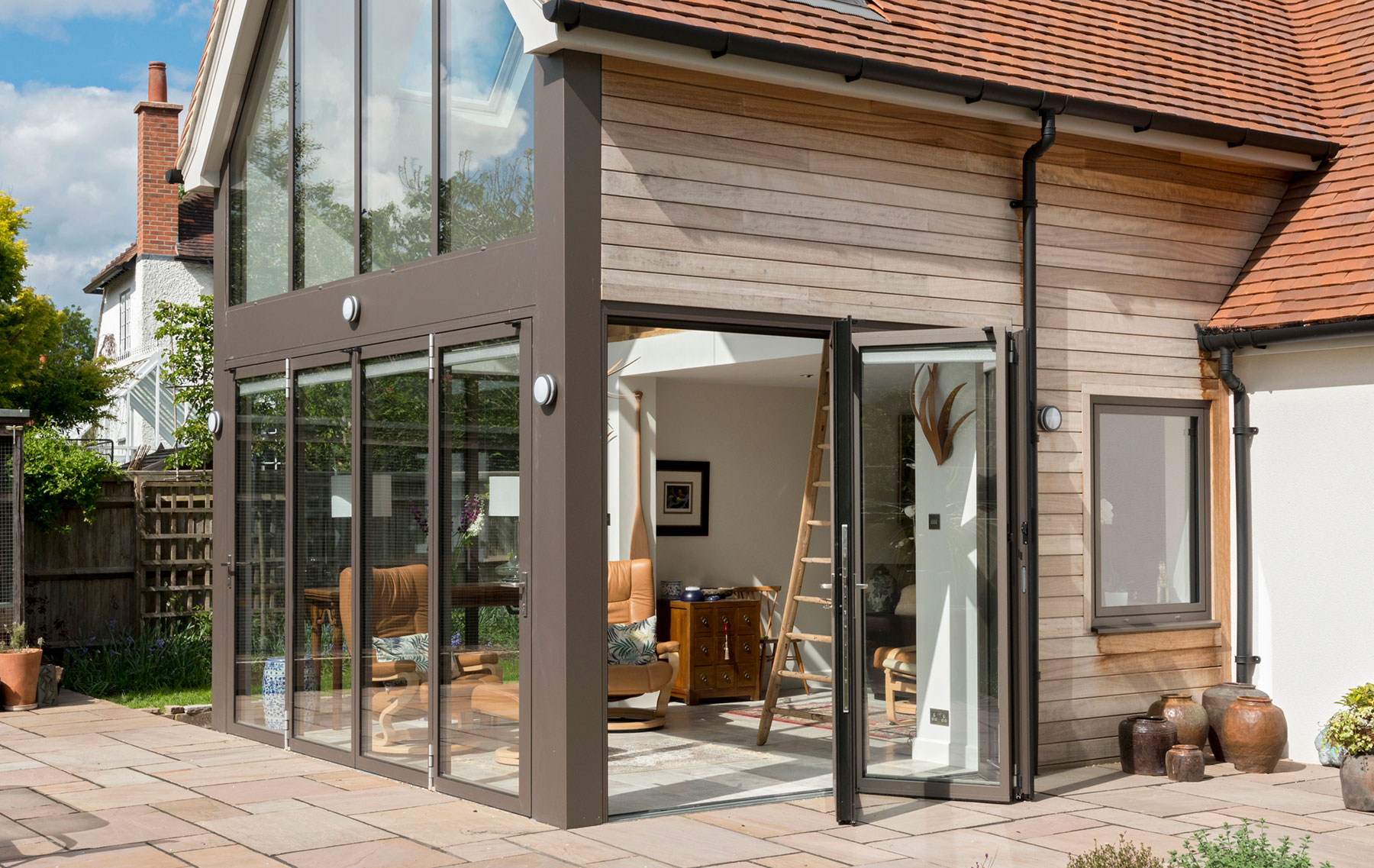 ODC Aluminium curtain walling and bifolding doors installed in Cottage Oxfordshire