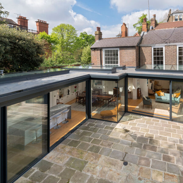 Cero slimline aluminium sliding doors, fixed windows and rooflights for extension in London from ODC, the glazing supply company
