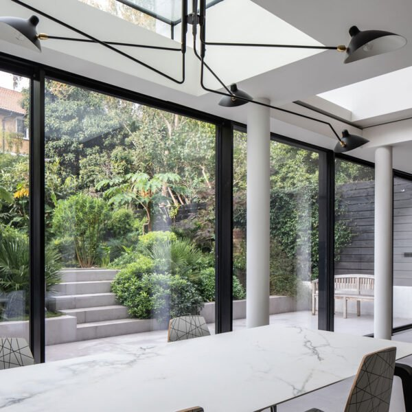 ODC aluminium floor to ceiling sliding door system and fixed window installed in London