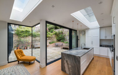 Cero slimline aluminium sliding doors, fixed windows and rooflights for extension in London
