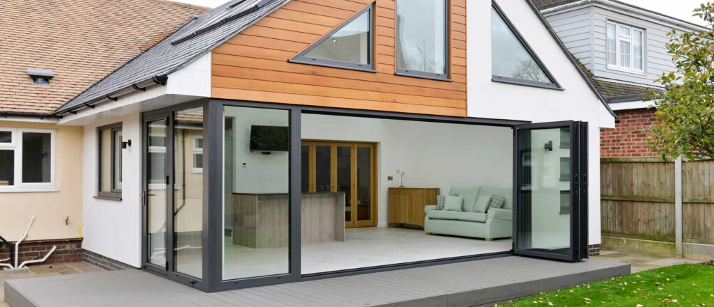 Bifold doors on kitchen extension