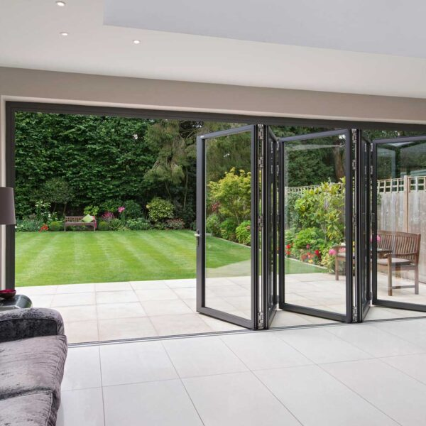 Inside out view of bi folding door system installed in Beaconsfield Buckinghamshire