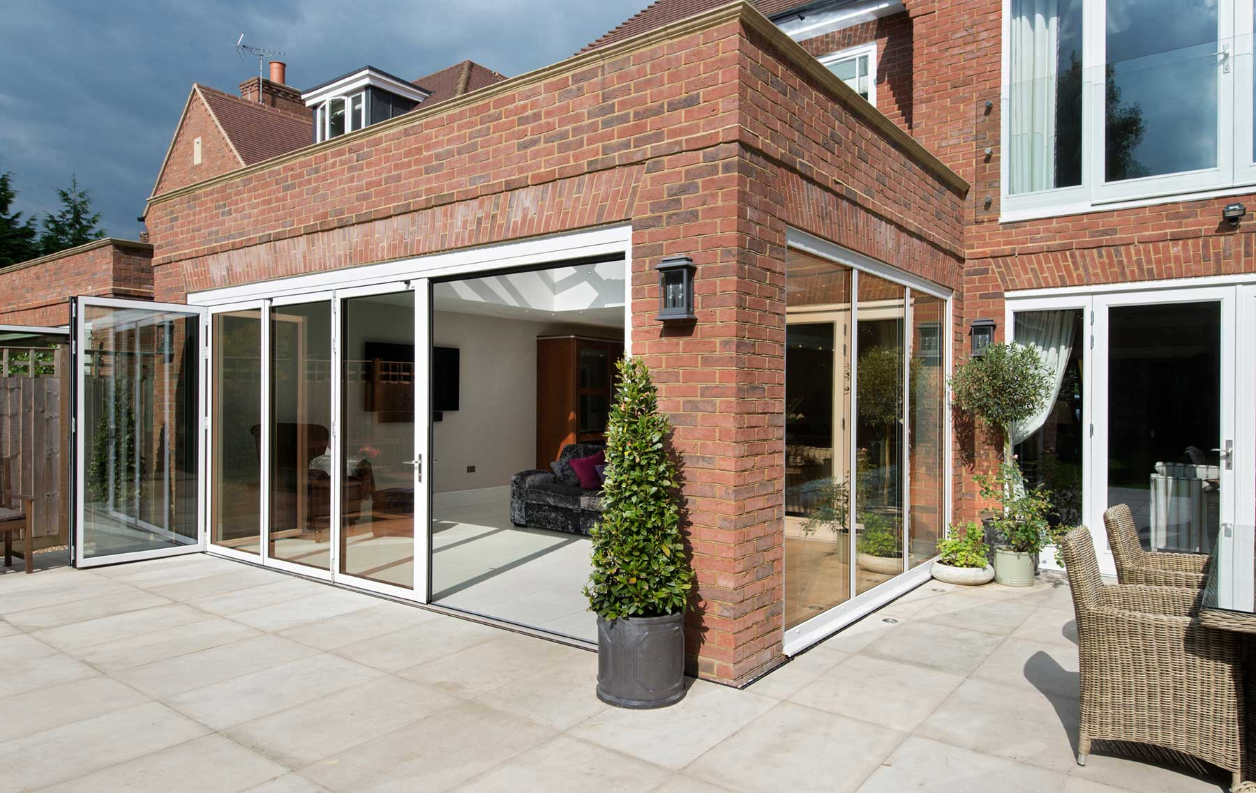 ODC aluminium bifolding door system installed in Beaconsfield Buckinghamshire