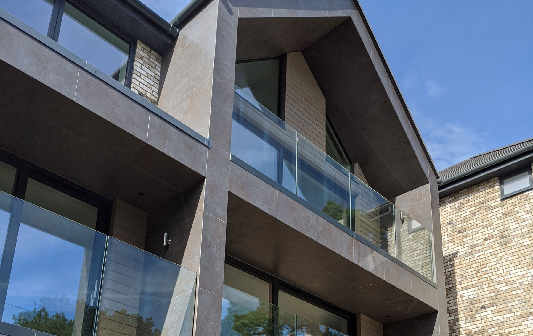 Glass balustrades on new build house in Dorset