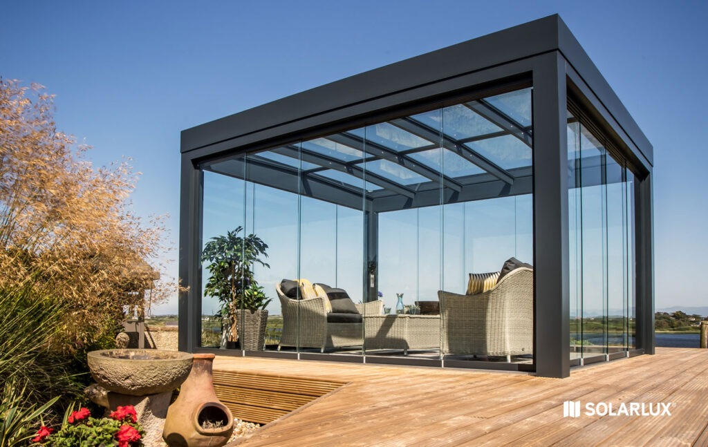 Glass atrium or glass house by pool