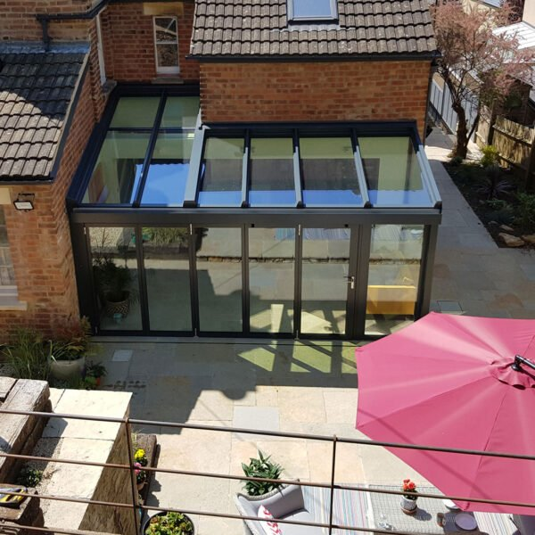 Drone view of 5-panel bifolds for period country home