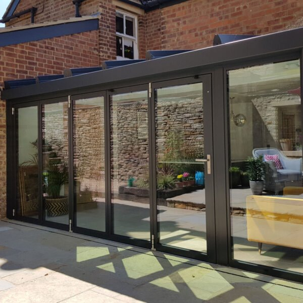 Front view of bifold door system