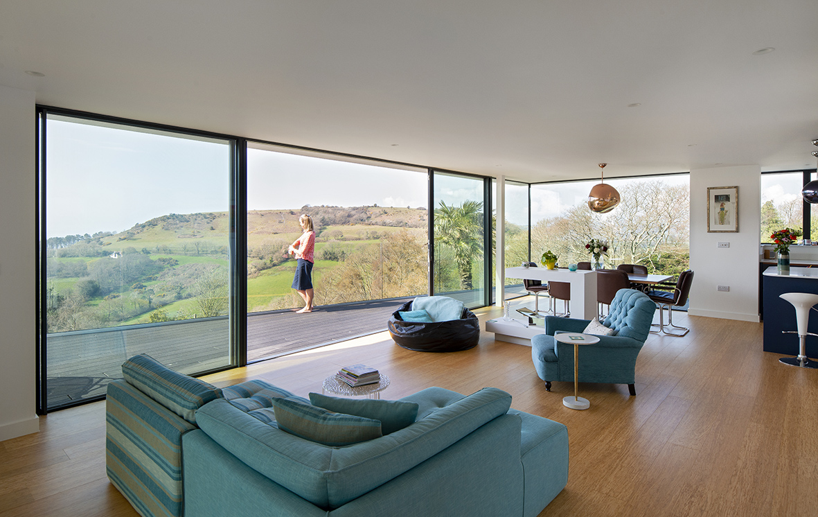 New build in Dorset with our ODC SL320 aluminium sliding doors, bespoke windows and doors